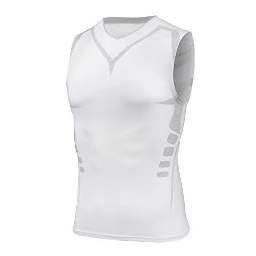 AMZSPORT Herren Tank Top Ärmellos Kompressionsshirt Muskelshirt Funktionsshirt Sport Unterhemd Weiß M