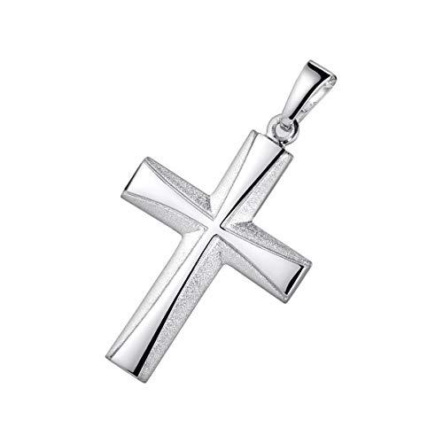 MATERIA 925 Sterling Silber Kreuz Herren Anhänger rhodiniert seidemattiert für Halskette/deutsche Juwelieranfertigung #KA-22