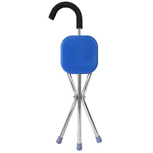 Bastón ergonómico, bastón plegable con trípode de acero inoxidable que engrosa el bastón para los ancianos con asiento plegable de bastón