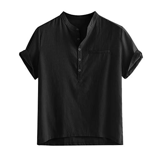 Yowablo Kurzarm-Hemden Hawaii Herren-Hemd Slim-Fit Summer Loose Cotton Blend Solid Button Gefälschte Tasche Kurzarm Shirt Tops (3XL,Schwarz)