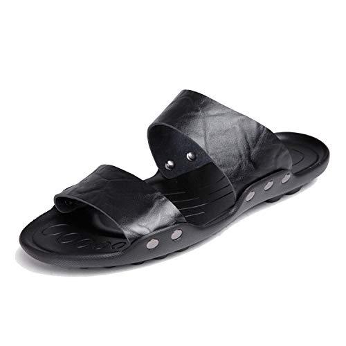 Feing Pantofole in pelle da uomo FaBeach pantofole per uomo in pelle pantofole scarpe da spiaggia, Nero (Cruz V2 Fresh Foam), 38 EU