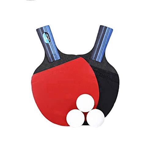 Tabla de conjunto de entrenamiento raqueta de tenis, 7-capa inferior Bing pong raqueta, 2 piezas, con 3 bolas y bolsa de almacenamiento de mango largo / corto mango, la oficina, la familia y en interi