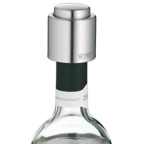 WMF Clever&More Weinverschluss mit Aufschrift, Wein- Flaschenverschluss Ø 2,4 cm, Cromargan Edelstahl mattiert