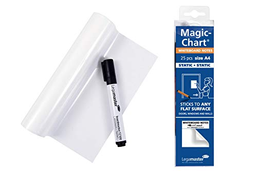 Legamaster 7-159100-A4 Magic-Chart Whiteboard DIN A4, elektrostatische Folie für verschiedene Oberflächen, gerollt 25 Blatt (je 29,7 x 21 cm)