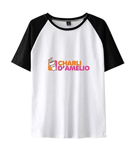 LYJNBB Colorblock mit kurzen Ärmeln 3D Printed Charli D'Amelio, Unisex Pullover T-Shirts Sweatshirt, Paar Wear Tops Best Friend Kleidung,Weiß,XXXXL