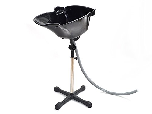 TMS® Portable Black Adjustable Height Shampoo Basin Hair...