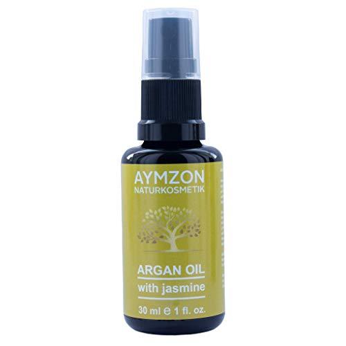 AYMZON Arganöl mit Jasmin 30 ml für natürliche Pflege der Haare, Haut, Gesicht und Nägel - Kaltgepresst - in Lichtschutz Glas-Flasche - Anti-Aging - Feuchtigkeitspflege