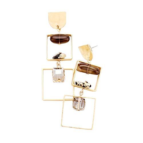Schmuckanthony Hoernel. Handgemaakt statement lange hoogwaardige oorbellen creolen creolen natuurstenen kristal parels bruin crème honing 6,5 cm lang