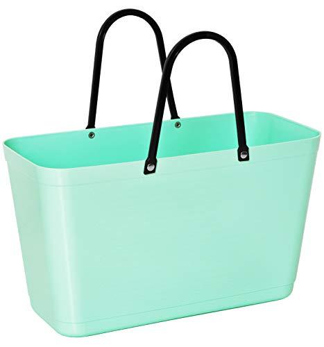 Hinza Kunststofftasche Tasche groß 15 L grün mit Henkel 41,5x44x18cm Kunststoff Shopper Plastik Tragetasche Mehrweg Shoppingbag Einkaufstasche Einkaufskorb BPA-frei stapelbar Swedish Design