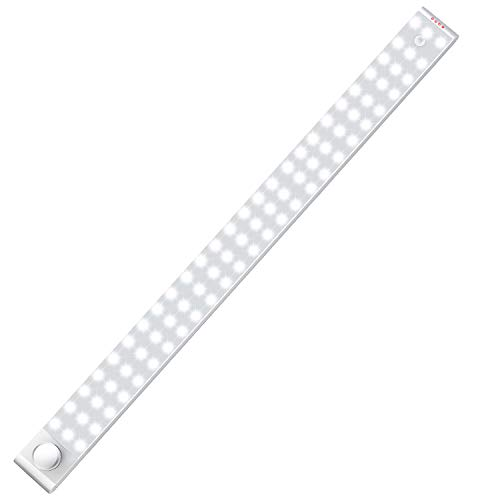 LED Closet Light, Upgraded 78-LED Homelife Lights Motion Sensor Closet Under Cabinet Light with Rechargeable Battery 3200mAh Stick-on Wireless Dimmer Night Light Bar Safe Light with Magnetic Strip