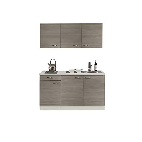 Singleküche TOLEDO - Miniküche mit Elektro-Kochfeld und Spüle - Breite 150 cm - Pinie Nougat/Champagner