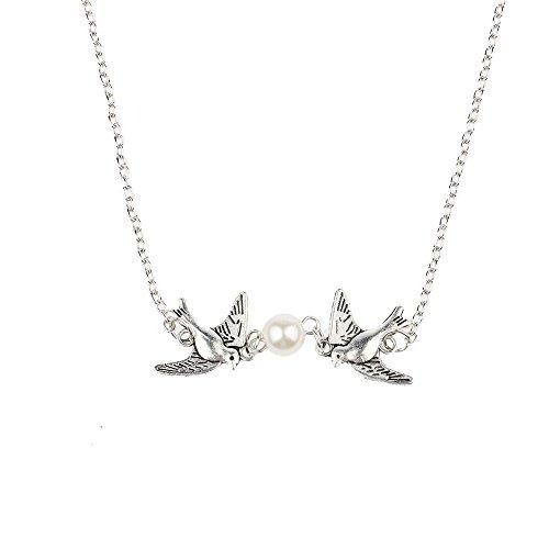 VANKER 1PC Vintage Argent Deux Oiseaux d'amour avec Perle d'eau Douce Collier Chaîne