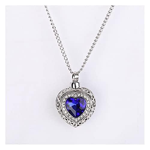 WFS Collar de cenizas de corazón a la moda, colgante de urna de cremación, joyería para recuerdo de mascota, recuerdo de perro, regalo significativo de diamantes de imitación (color : acero)