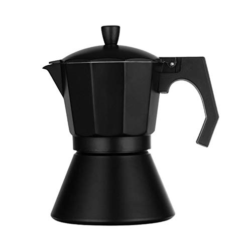 QAIYXM Mokka Latte Kaffeemaschine, Espresso Espressokocher Topf Stovetop Kaffeemaschine Kaffeekanne Schwarz Compound Boden Aluminium Kaffeemaschine Für Sechs