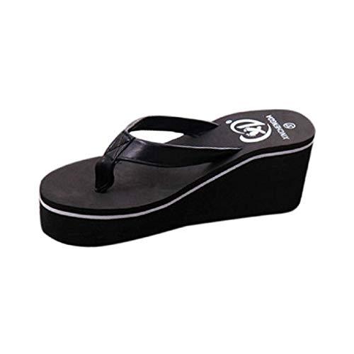 Sandalias Mujer Verano 2019 SHOBDW Zapatillas En Oferta Chanclas Mujer Sandalias con Chanclas Sexy para El Verano Bohemian Muffin Slope con Sandalias(Negro,EU39)