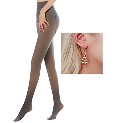 CICIYONER Damen Strumpfhosen Plüschstrümpfe Perfekt Beine abnehmen Gefälschte durchscheinend Warm Fleece Pantyhose -wärmende...
