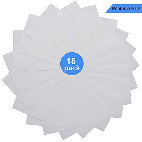 Printable Vinyl Light T-Shirt Transfers Printable Heat Transfer Vinyl HTV for Inkjet Printer A4 Size, Pack of 15