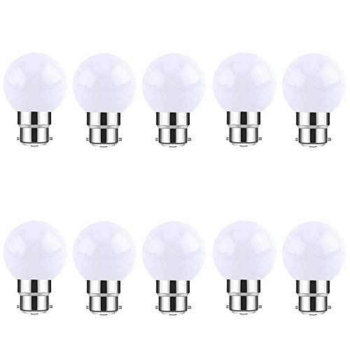 Blanco cálido B22 Bayonet Light Bulbs - 10 Pack de 2W LED de color Bola de adorno de adorno para pelotas de golf, larga vida 60,000 horas, BC Mini bombillas para fiestas de Navidad