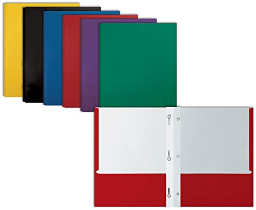 Letter Size Paper Portfolios by Better Office Products, Case of 100, Assorted Primary Colors, with Fasteners (Assorted, 2 Pocket Paper Folders with Fasteners)