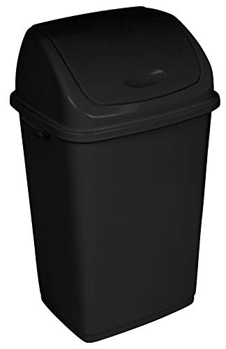 Superio Trash Can 13 Gallon Swing Lid 50 Liter, Black