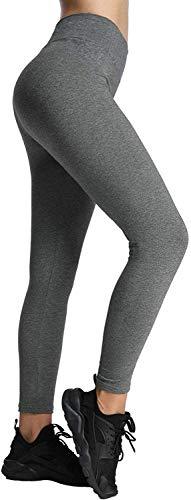 4How Sport Leggings Damen Lang Baumwollleggings Grau blickdicht Jogginghose Frauen Sport Tights Sporthose Fitness Yoga Pants S(34/36)