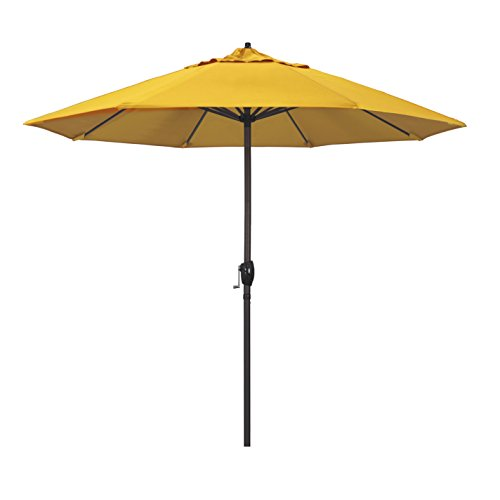 California Umbrella ATA908117-5457 9' Round Aluminum Market, Crank Lift, Auto Tilt, Bronze Pole, Sunbrella Sunflower Yellow Patio Umbrella