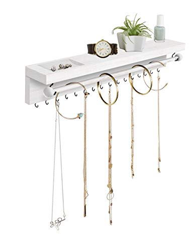 Rustic White Necklace Jewelry Organizer - Wall Mount Jewelry Holder - Mounted Hanging Jewelry Storage Hooks for Necklace, Earrings, and Rings - Farmhouse Wood Decor Bedroom Boho Shelf Rack