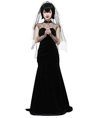 miccostumes Women's Mavis Dracula Halloween Costume Black Wedding Dress (Small)