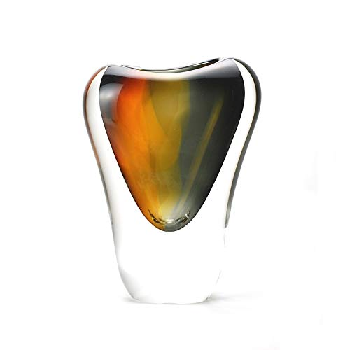 """Murano Glass Design Crystal Veneto Vase Amber Smoke 7.5"""" Ht. 5"""" Length"""