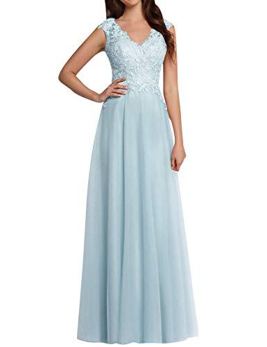 JAEDEN Ballkleider Lang Brautjungfernkleid V-Ausschnitt Hochzeitskleider Abendkleider Spitze Tüll Himmelblau EUR34