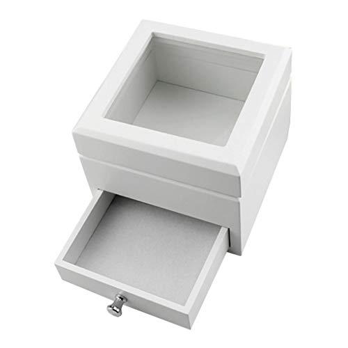 P Prettyia Bemalte Holzschatulle Holzkästchen Holzkiste Holzbox Schmuckkasten Schmuckbox mit Glasdeckel - Weiß