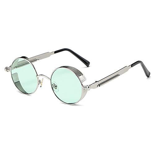 Yangmanini Gafas De Sol Azules/Verdes Retro Redondas Polarizadas Gafas De Conducción for Hombres Y Mujeres Correr Pesca Steampunk Viento (Color : Green Lens)