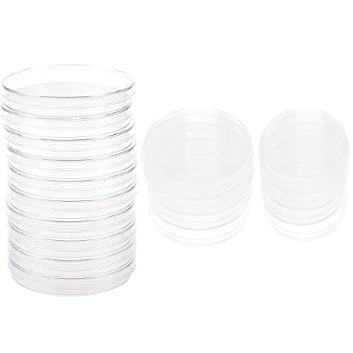 20 PCS Placa Petri Plastico,Tangger Placa de Petri Estéril con Tapa para el Cultivo Experimental de Microorganismos Como Hongos Bacterianos 55 mm 70 mm 100 mm