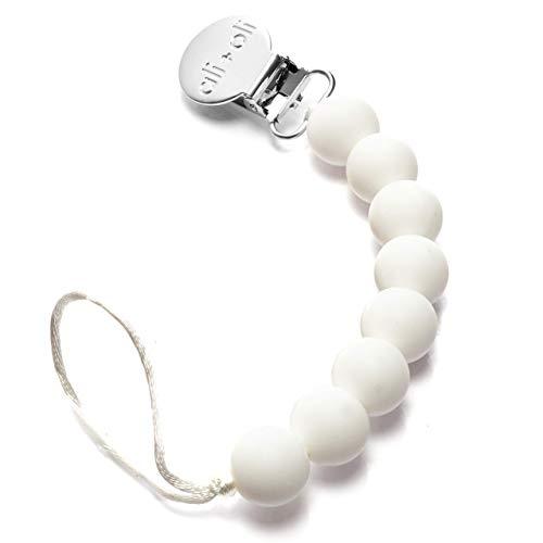 Ali+Oli Pacifier Clip Holder for Baby | NATI (Pure White)