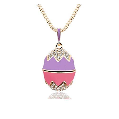 Sehr schöner Anhänger im Fabergé-Ei-Stil, zweifarbig, Rosa und Violett, viele Kristalle, mit vergoldeter Kette, Magnetverschluss OE52
