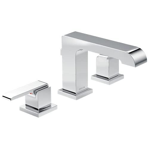 Delta Faucet Ara Widespread Bathroom Faucet Chrome, Bathroom Faucet 3 Hole, Diamond Seal Technology,...