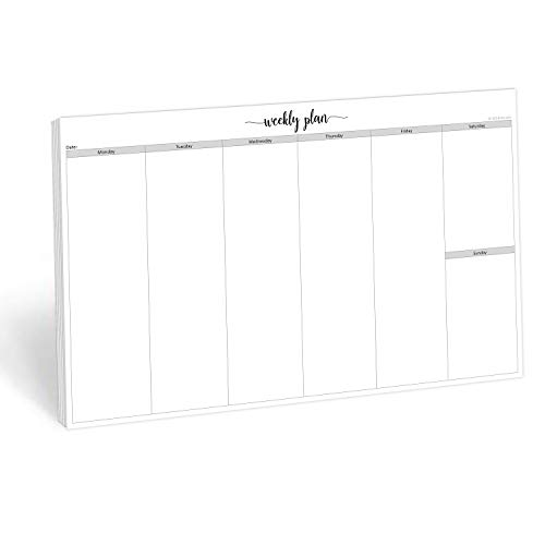 """321Done Jumbo Weekly Planning Desktop Notepad - 50 Sheets (11"""" x 17"""") - Landscape Days of Week Desk Planner, Extra Large - Made in USA - Simple Script"""