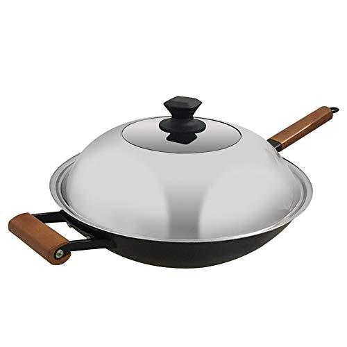 Cooking Tools Eisen Wok Wok Gusseisen Pfanne Haushalt altmodische unbeschichtete Ohr runden Boden Gas Gasherd geeignet für Griff Wok