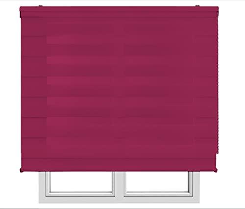 Restar Estor Enrollable De Doble Capa, Noche y Día, Celeste para Ventanas Puertas Dormitorios Oficinas,Tamaño Completo y Color, (Rojo Vino, 160x180)