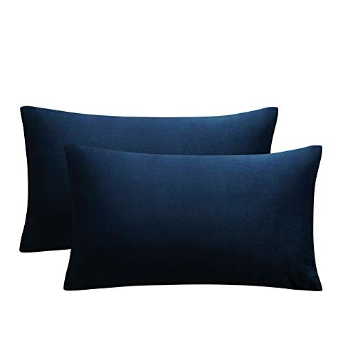 JUSPURBET Decorative Lumbar Pillow Covers,Pack of 2 Velvet Throw Pillow Covers for Couch Bed Sofa,Soild Color Soft Pillow Cases,12x20 Inches,Navy Blue