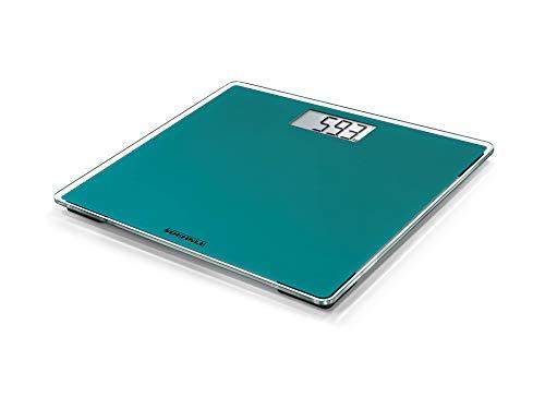 Soehnle Báscula de baño Style Sense Compact 200 Ocean Green, peso digital con pantalla LCD, balanza electrónica con apagado y encendido automáticos