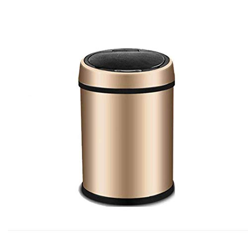 Afvalbak, Slimme vuilnisbak - RVS Vuilnisbak Inductie (Slaapkamer: Woonkamer) (Kleur: Goud, Maat: 13L)