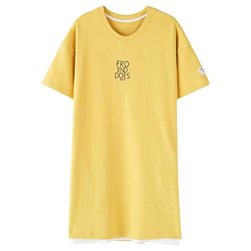 DFDLNL Pijamas de Verano para Hombre, Conjunto de Pijama de Manga Corta para Hombre, Pijama de 100% algodón con Letras para Mujer, Ropa de Dormir, Traje de Pareja, Ropa de casa XXL LY17033