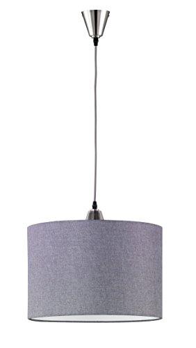 Trio Leuchten LED Pendelleuchte Cosinus 306500107, Metall Nickel matt, Stoffschirm grau, exkl. 1x E27