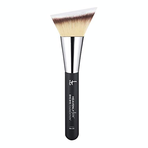 IT Cosmetics Heavenly Luxe Bye Bye Foundation Brush #22 - Unique, Triangle-Shaped Brush Head for Even Application - With Award-Winning Heavenly Luxe Hair - Pro-Hygienic & Ideal for Sensitive Skin