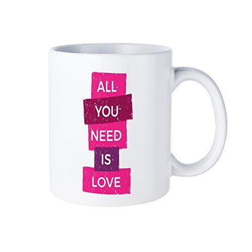 Promini alles wat je nodig hebt is liefde mok, witte keramische koffie mok thee beker, Valentijnsdag geschenk, cadeau voor hem/haar, ideale geschenken 11 oz Mug - 06