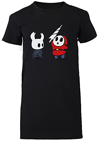 Hollow Shy Guy Negro Vestido Largo Mujer Camiseta Tamaño M Black Dress Long Women's tee Size M