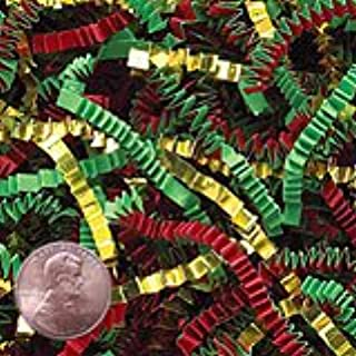 Krafty Klassics 1/2 lb (8oz) Red/Green/Gold Metallic Mix Crinkle Cut Crimped Paper Shred
