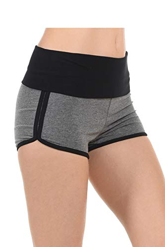 Athletic Curves Trimming Hot Yoga Shorts: Booty Shorts for Women Hgray/BLK L