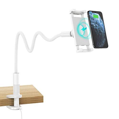 """CHOETECH 2 IN 1 Wireless Charger Schwanenhals Handy Halterung, 10W Induktions Ladegerät Universal Handy Halter für Bett iPhone 12 12 Pro SE2020 11 Pro XS Max XR, Samsung S20 Note 20 10 S10, 4.7-9.7"""""""